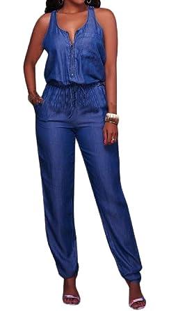 2a72c435e0e9 Sweatwater Women s Washed Zipper Strap Sleeveless Wide Leg Denim Jumpsuit XS
