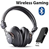 Avantree DG59 Wireless Gaming Headphones with Mic & Bluetooth USB Audio Transmitter for PC PS4 Nintendo Switch Desktop Computer, Chat & Music Simultaneously, No Audio Delay, 40hrs Play Time