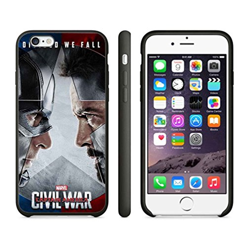 Divided We Fall Captain America Civil War Case Cover Your Iphone 6 Case And Iphone 6S Case ( Black Hard Plastic )