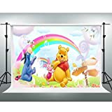 GESEN Disney Backdrop 7x5ft Yellow Winnie the Pooh Piggy Photography Background for Children Birthday Party Background Photo Studio Booth Shooting Props LXGE182