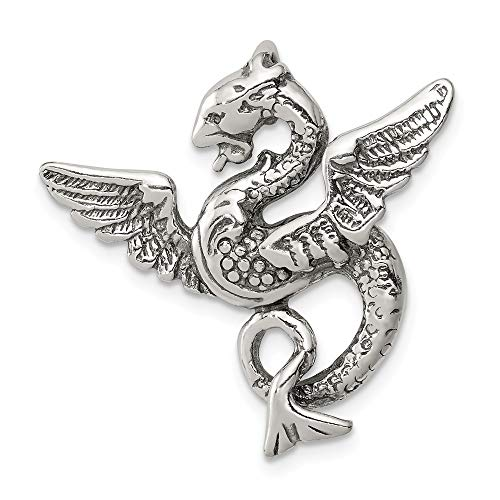 925 Sterling Silver Dragon Pendant Charm Necklace Skull Dagger Man Fine Jewelry Gift For Dad Mens For -