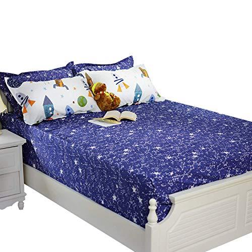 Brandream Boys Galaxy Space Bedding Kids Bedding Set Fitted Sheet 1-Piece Queen Size