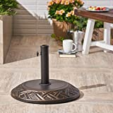 Great Deal Furniture Lorelei | Outdoor Concrete Circular Umbrella Base | in 55LBS | in Hammered Dark Copper