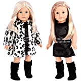 DreamWorld Collections - Glamour Girl - 3 Piece Outfit - Snow Leopard Faux Fur Coat with Black Velvet Dress and Black Boots - Clothes Fits 18 Inch American Girl Doll (Doll Not Included)