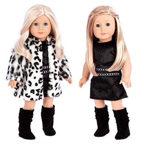 (DreamWorld Collections - Glamour Girl - 3 Piece Outfit - Snow Leopard Faux Fur Coat with Black Velvet Dress and Black Boots - Clothes Fits 18 Inch American Girl Doll (Doll Not Included))