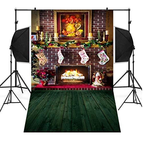 Wensltd Clearance! Christmas Backdrops Tree Vinyl 3x5FT Fireplace Background Photography Studio (C)