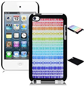 Bastex Snap on Case for Touch 4, 4th Generation iPod Touch - Blue Rainbow Chevron Tribal Aztec Design Hard Shell