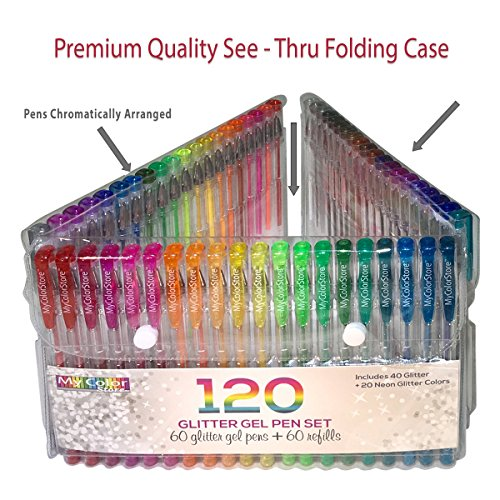 My Color Store 120 Glitter Gel Pens Set, 60 Glitter Pens + 60 Refills, Fold-able Case + Gift Box by My Color Store (Image #2)