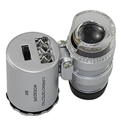 Skycoolwin 60x Handheld Pocket Microscope Loupe Jeweler Magnifier With LED Light Glass