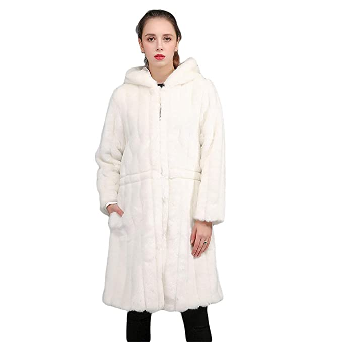 YuanDian Donna Inverno Lungo Cappotto in Pelliccia Sintetica Parka con  Cappuccio Slim Fit Elegante Tinta Unita 064b113423a