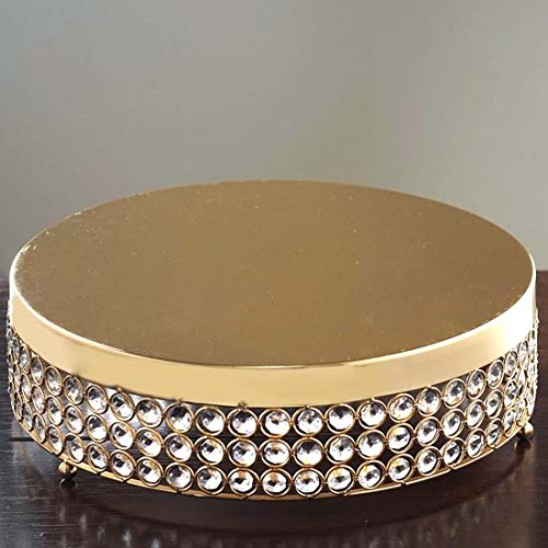 Efavormart Gold Grand Wedding Beaded Crystal Metal Cake Stand - 15.5
