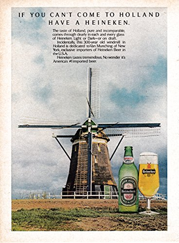 - 1976 Heineken Beer-Windmill-Original Magazine Ad-If You Can't Make It To Holland