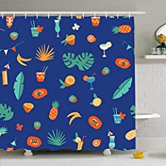 "Ahawoso Shower Curtains 72""x72"" Alcohol Orange Pattern Tiki Bar Cocktail Fruits Food Martini Drink Summer Hawaii Beverage Glass Waterproof Fabric Bathroom Bath Set with Hooks The shower curtain is perfect to give your bathroom with a new styl..."