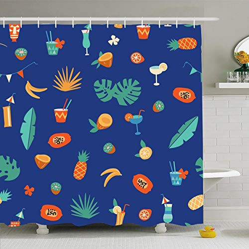 Ahawoso Shower Curtain 72 x 78 Inches Alcohol Orange Pattern Tiki Bar Cocktail Fruits Food Martini Drink Summer Hawaii Beverage Glass Waterproof Polyester Fabric Bathroom Set with Hooks
