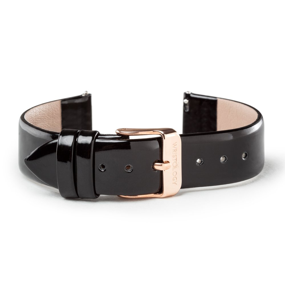WRISTOLOGY ローズゴールド 18mm レディース 交換が簡単な腕時計バンド ブラックパテント ブラックパテント B073T6PD6F