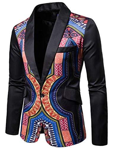 GenericMen Africa Dashiki Print One Button Notched Lapel Slim Fit Blazers Black L by GenericMen