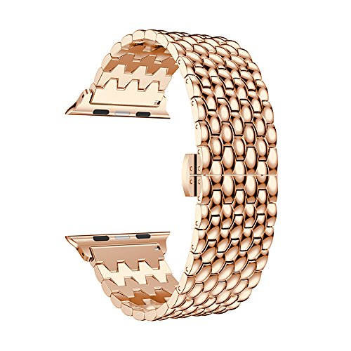 WETERS Apple Watch Band Suitable for 38Mm Dragon-Shaped Stainless Steel Chain Butterfly Buckle Wristband for Apple Watch Series 3 Series 2 Series 1 Sports Version,Rosegold,38Mm