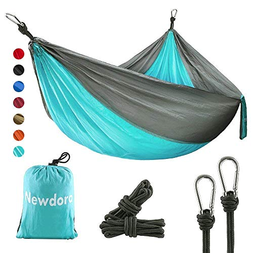 Newdora Camping Hammock with Tree Straps Portable Lightweight Nylon Hammock, Parachute Double...