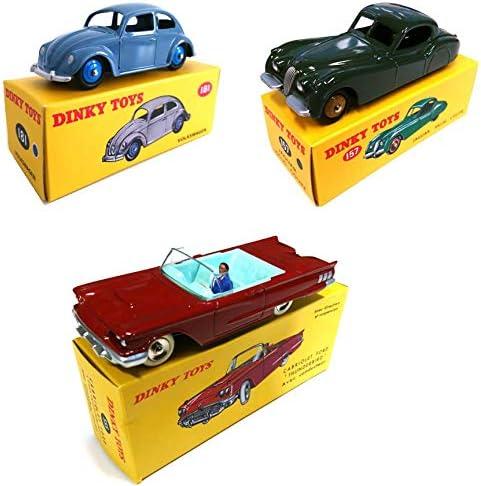 OPO 10 - Conjunto de 3 Autos Norev para DeAgostini Dinky Toys: Jaguar XK120 + Ford Thunderbird + Beetle (157 + 555 + 181)