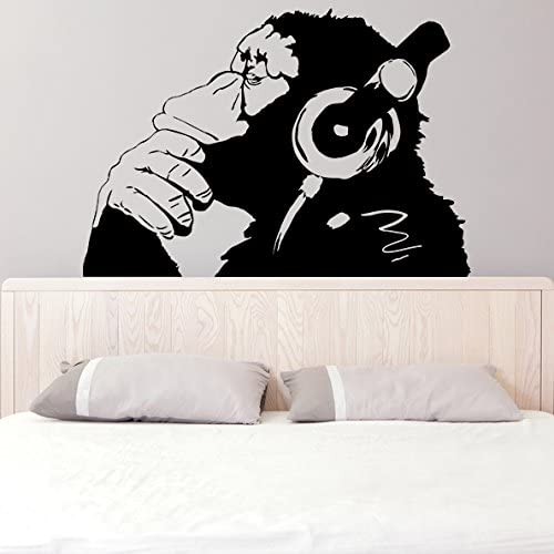 (63'' x 44'') Banksy Vinyl Wall Decal Monkey With Headphones / One Color Chimp Listening to Music in Earphones / Street Graffiti Sticker + Free Decal Gift 51S-MVYtxYL