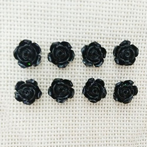 50 pcs No Hole DIY Resin Rose 10 mm Flowers Cabochons Cameo Flat Back Nail Beauty Manicure Fit Headband Embellishment Hair Clip Pins Glue on Jewelry Findings scrapbooking (Black, 10mm)