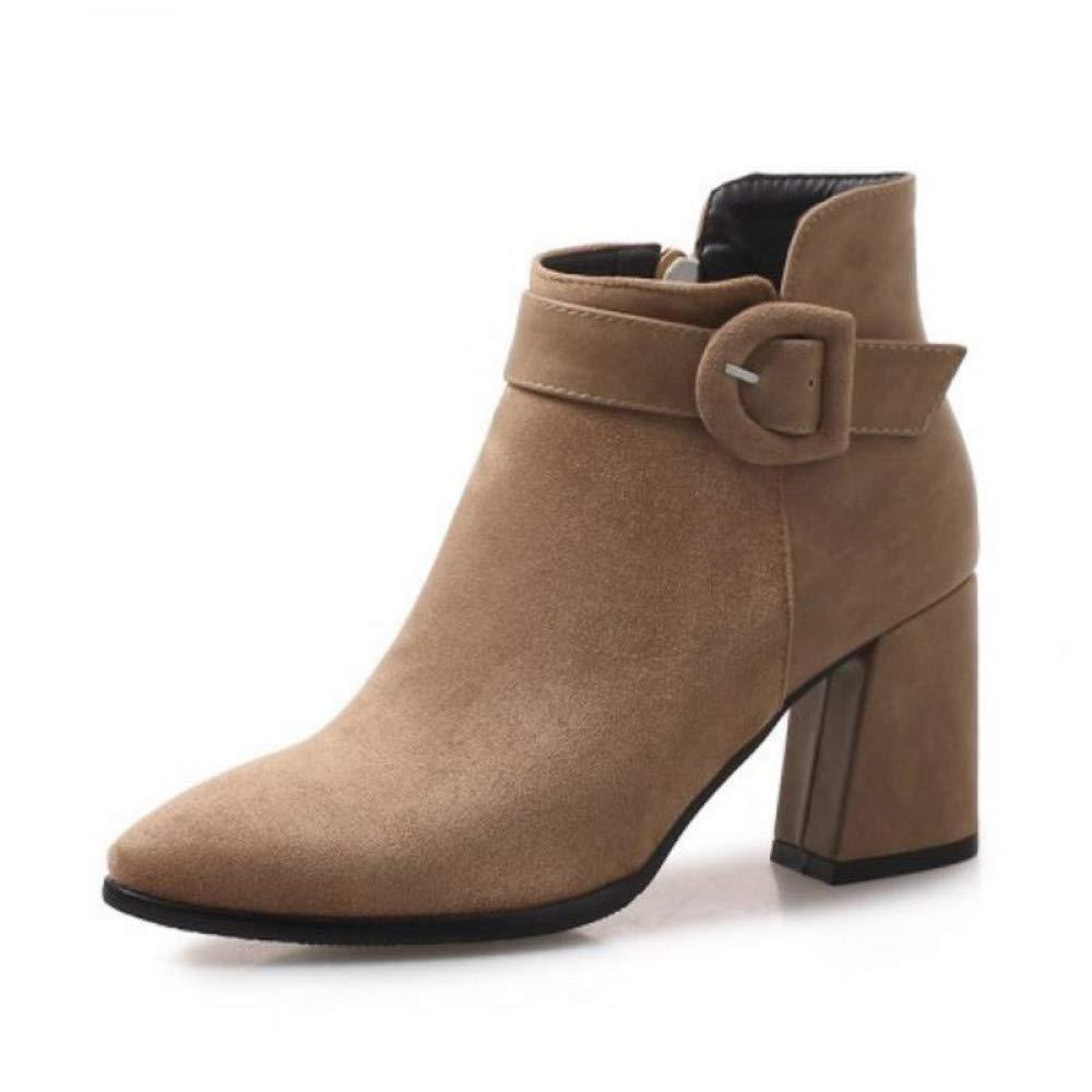 PINGXIANNV Frauen High Heel Stiefel Schnalle Reißverschluss Spitze Zehe Damen Kurze Stiefel Elegante Stiefeletten Weibliche Schuhe