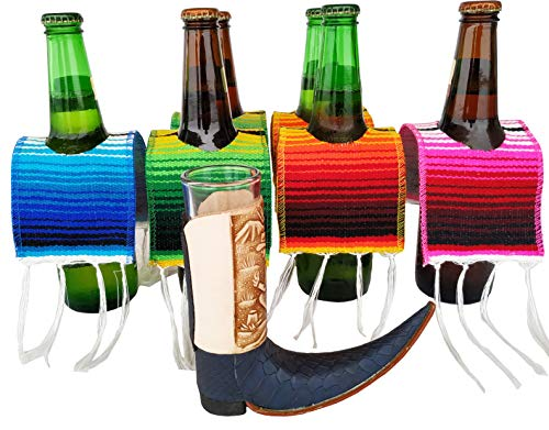 Yani's Gifts 6 Beer Poncho Mini Serapes and One Leather Mexican Pointy Boots Cowboy Boot Shot Glass (1-Pack, Assorted) for Cinco de Mayo, Day of the Dead or a Mexican Party, Beer Covers for a 6 Pack ()