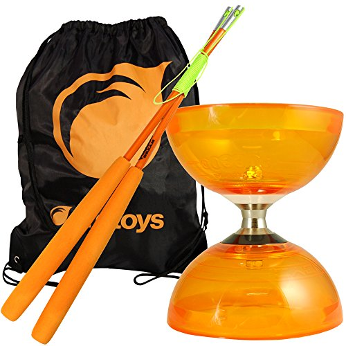 Orange Cyclone Quartz 2 Diabolo & Orange Superglass Diablo Sticks Set with Firetoys Bag