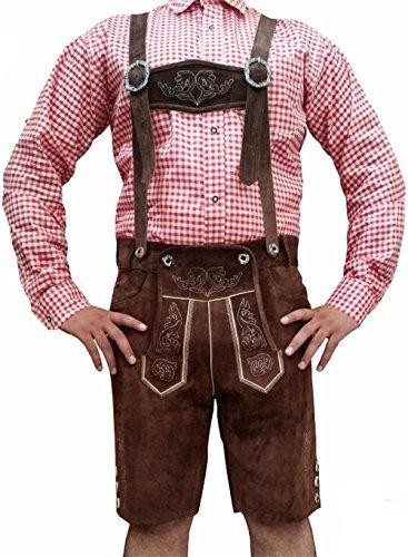 Lederhosen Kurze dunkelbraune Herren Trachten Lederhose - Gr 62 - echtes Leder Trachtenhose