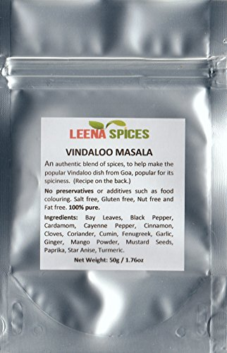 LEENA SPICES - Vindaloo Curry Powder Masala - Gluten Free Spice Blend - No Salt Or Color - Delicious Easy Cooking Recipe Included - Enjoy Best Quality Food At Home.