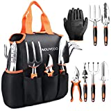 7pcs Garden Tools Set, NOUVCOO Aluminum Alloy Hand Gardening Kit with with Soft Rubberized Non-Slip Handle, Durable Storage Tote Bag and Pruning Shears - Garden Gifts for Men & Women