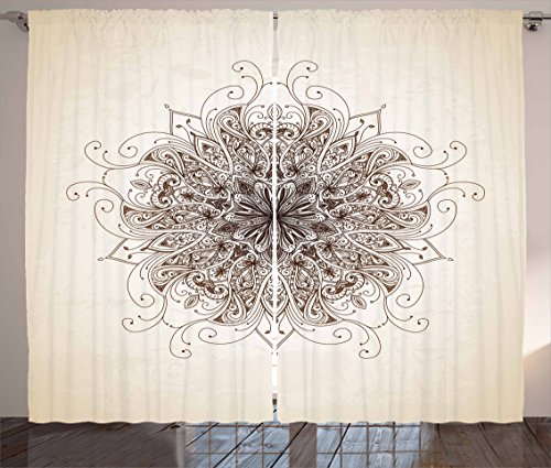 "Ambesonne Mandala Curtains, Curving Soft Lines Old Fashioned Mandala Pattern Growth Image, Living Room Bedroom Window Drapes 2 Panel Set, 108"" X 84"", Sepia Brown"