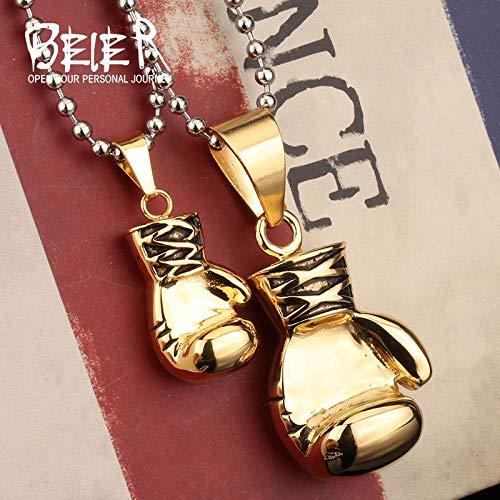Davitu Fashion Men Women 316L Stainless Steel Pendant Necklace Boxing Glove Boys Cool Punk Jewelry BP8-117 Metal Color: Big one