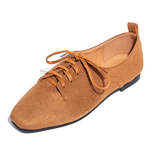 Women's Suede Walking Shoes Stylish Summer/Autumn No-Heel Flats Square Head Lace up Loafers - Suede Lace Up Walking Shoes