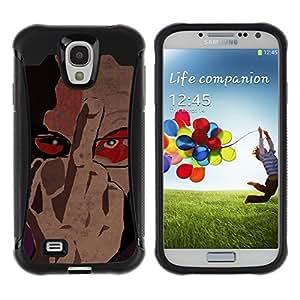 "Pulsar iFace Series Tpu silicona Carcasa Funda Case para Samsung Galaxy S4 IV I9500 , Vete a la mierda de firmar dedo Hombre Retrato Gafas Arte"""