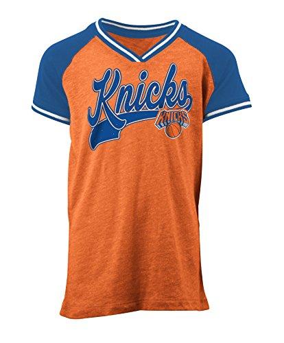 NBA New York Knicks Children Girls Youth Tri Blend Jersey V Neck Short sleeve,L,Tri Natural Orange