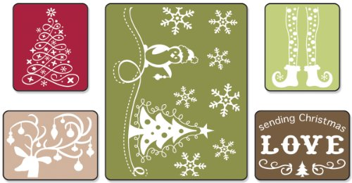 A2 Card Embossing Folder (Sizzix Textured Impressions Embossing Folders 5PK - Sending Christmas Love Set by Rachael Bright)