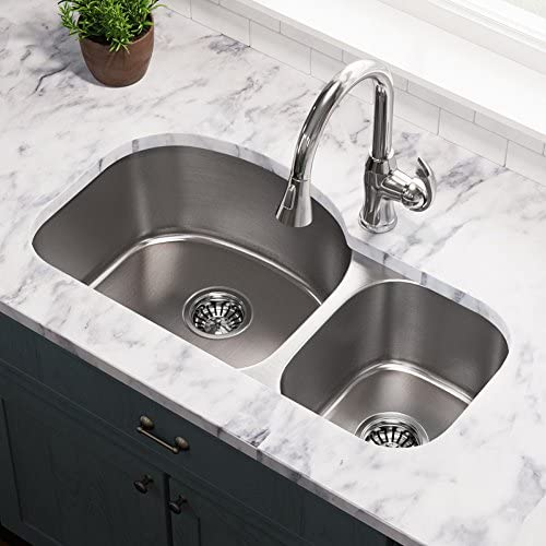 501L 16-Gauge Undermount Offset Double Bowl Stainless Steel Kitchen Sink