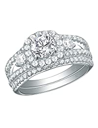 Newshe Three Stone Engagement Ring Set for Women 925 Sterling Silver White AAA Cz Size 5-10
