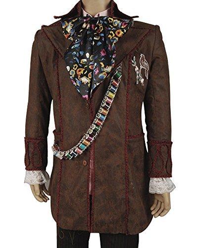 Johnny Depp Mad Hatter Alice in Wonderland 6 Pcs Coat Pants Cosplay Costume Set (Mad Alice Costume)