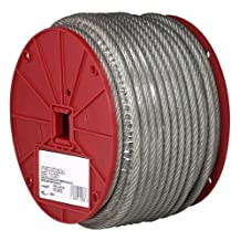 CAMPBELL Galvanized Steel Wire Rope, Vinyl Coated, 7x7 Strand Core, 3/32-Inch Bare OD, 3/16-Inch Coated OD, 250-Feet Length, 184-Pound Breaking Strength