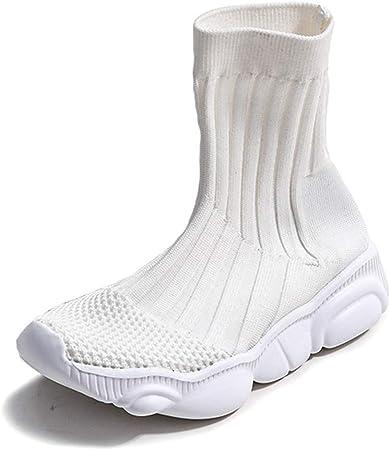Zapatillas De Running Para Niñas, Zapatillas De Deporte De Calcetines Zapatillas De Gimnasia De Punto Cómodo Zapatos De Zapatillas De Calcetín Zapatillas De Deporte Casuales Para Niños,Blanco,31: Amazon.es: Hogar