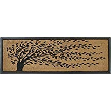 """A1 Home Collections Rubber and Coir Molded 'Falling Leaves' Double Doormat, 16"""" L x 48"""" W"""