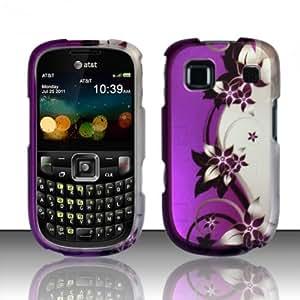 For ZTE Z431 (AT&T) Rubberized Design Cover - Purple/Silver Vines