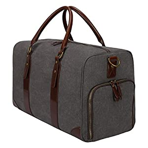 S-ZONE Canvas PU Leather Trim Travel Duffel Shoulder Handbag Weekender Carry On Luggage with Shoe Pouch