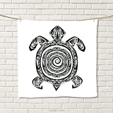smallbeefly Turtle Hand Towel Maori Tattoo Style Figure of Sea Animal Tribal Spiral Form Ancient Tropical Quick-Dry Towels Black and White Size: W 20'' x L 33''
