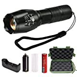 LED Tactical Flashlight,Liwin Ultra Bright LED Handheld Portable Water Resistant Torch with Adjustable Focus and 5 Modes Light,Includes Rechargeable 18650 Lithium Ion Battery and Charger