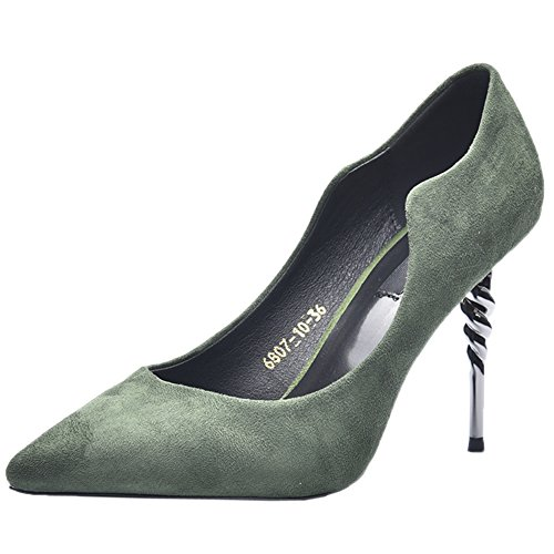 Pumps HooH Spiral Slip On Women's Flannel Pumps Party Green Toe Pointed High Heel PxaRPqrw