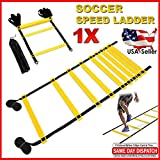 FITNESS MANIAC Agility Speed Ladder Footwork Exercise Equipment Workout Adjustable 9 Rungs 15ft Length with Carry Bag Football Soccer Sports Single