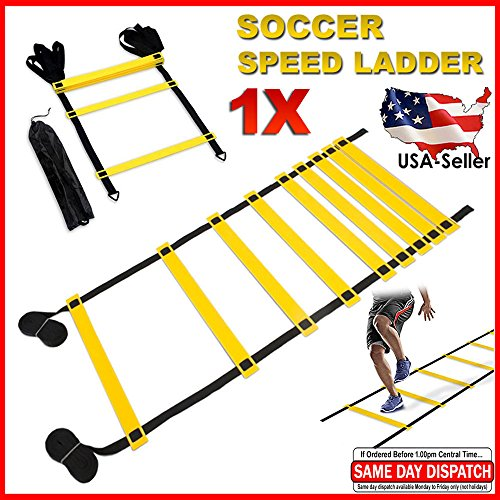 FITNESS MANIAC Agility Speed Ladder Footwork Exercise Equipment Workout Adjustable 9 Rungs 15ft Length with Carry Bag Football Soccer Sports Single by FITNESS MANIAC